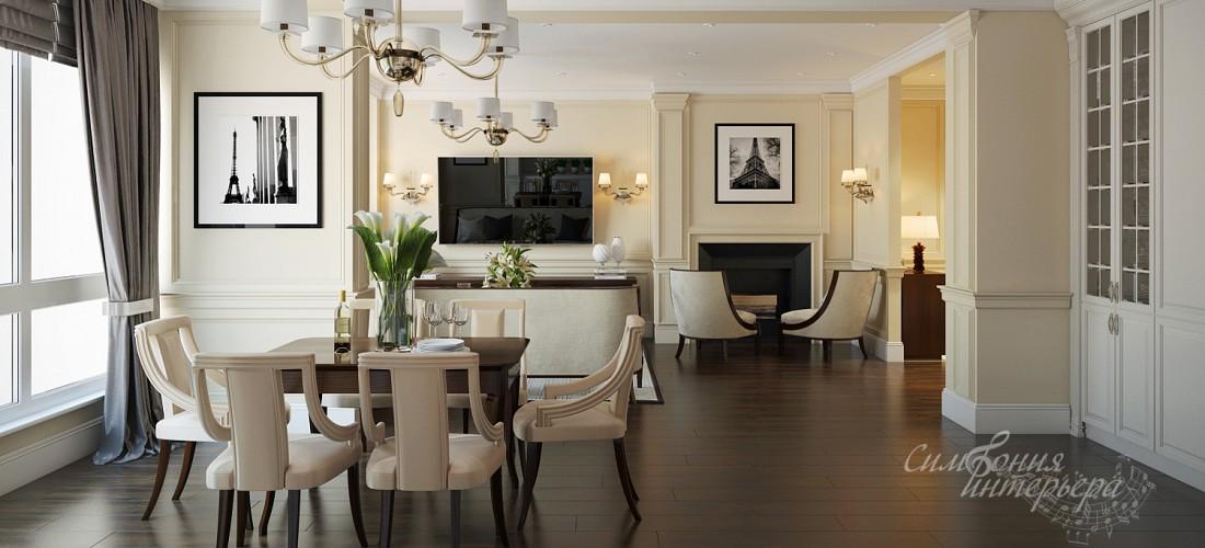 Светлая классика в интерьере кухни-гостиной