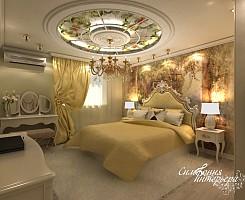 Витражи и роспись в интерьере спальни
