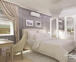 Серо-бежевая спальня